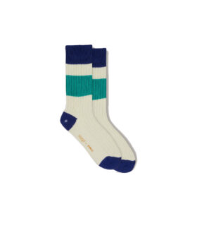 YOU MUST CREATE – SPORT COTTON RIB SPORT SOCKS ECRU ROYAL BLUE