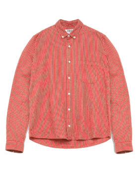 YOU MUST CREATE – DEAN COTTON LINEN STRIPE SHIRT RED